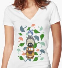 Totem Totoro Women's Fitted V-Neck T-Shirt