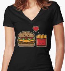 Burger und Pommes Tailliertes T-Shirt mit V-Ausschnitt