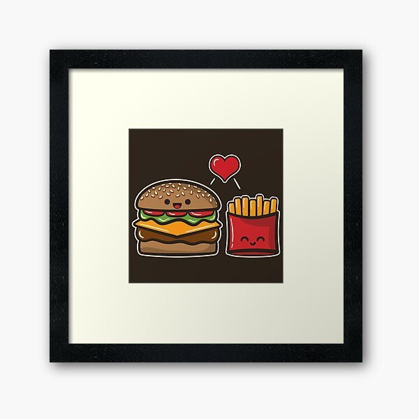 Burger and Fries Framed Art Print