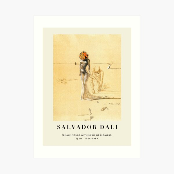 Poster-Salvador Dali-Female figure with head of flowers. Art Print
