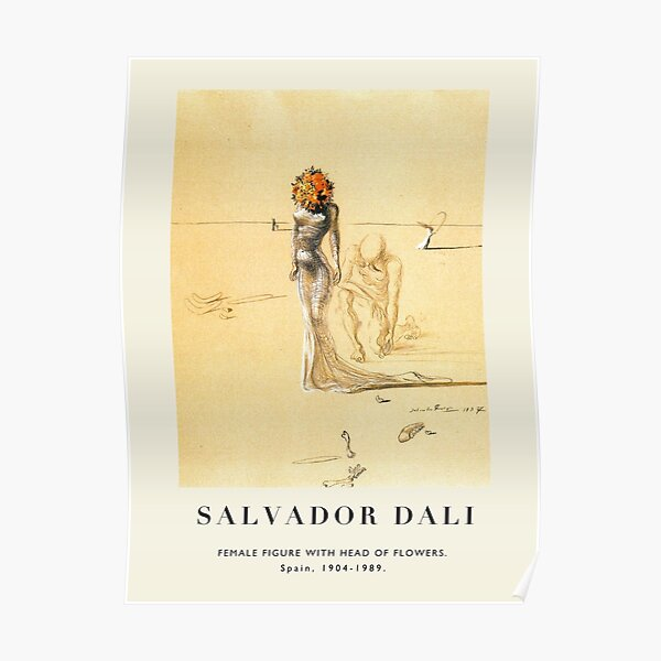 Póster-Salvador Dali-Figura femenina con cabeza de flores. Póster