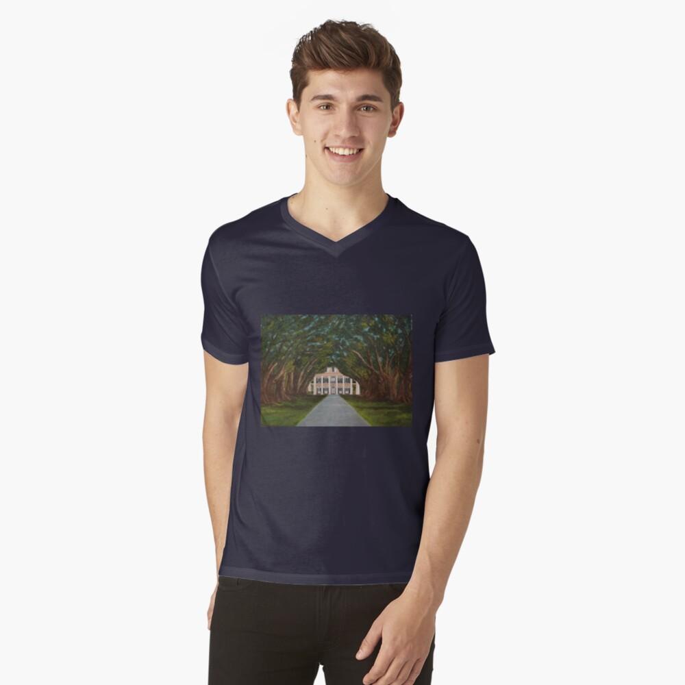 Oak Alley Plantation Mens V-Neck T-Shirt Front