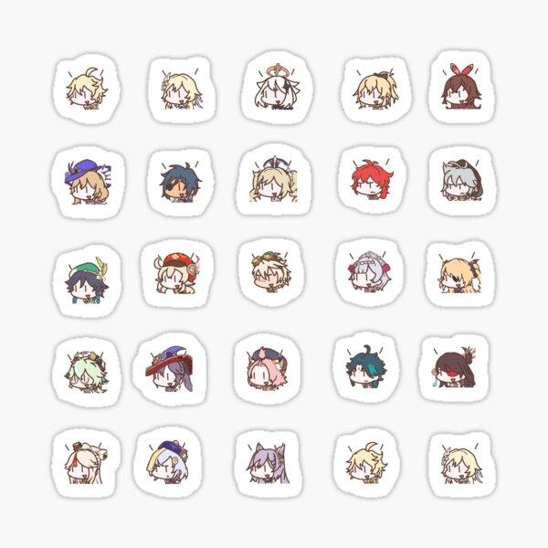 Genshin Impact Kawaii Chibi Nerdy Characters Sticker