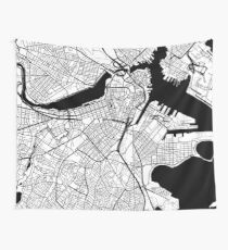 Boston Map - Black Inverted Wall Tapestry