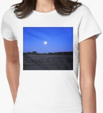 Moon over Winter Field Women's Fitted T-Shirt