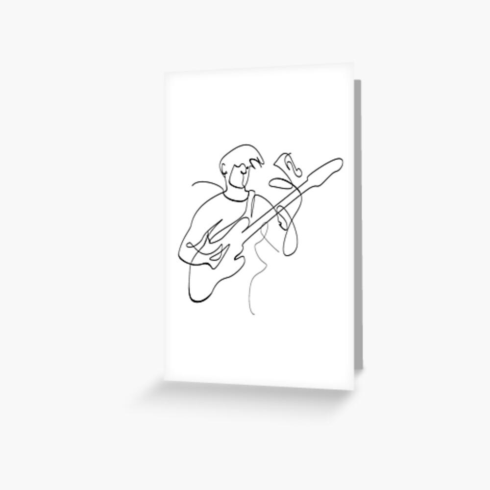 line art man bass player Greeting Card