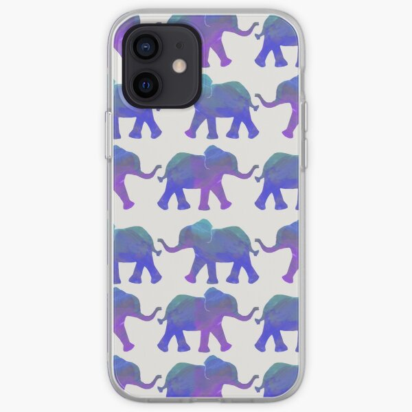 Follow The Leader - Painted Elephants in Purple, Royal Blue, & Mint iPhone Soft Case
