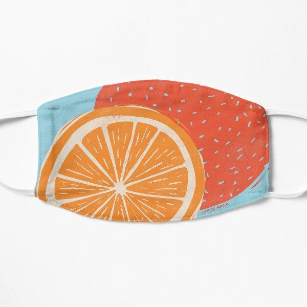Orange Woodcut on Blue Flat Mask