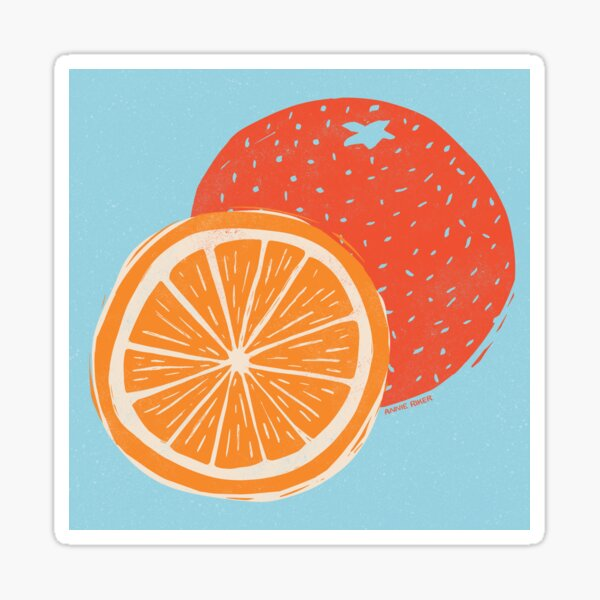 Orange Woodcut on Blue Sticker