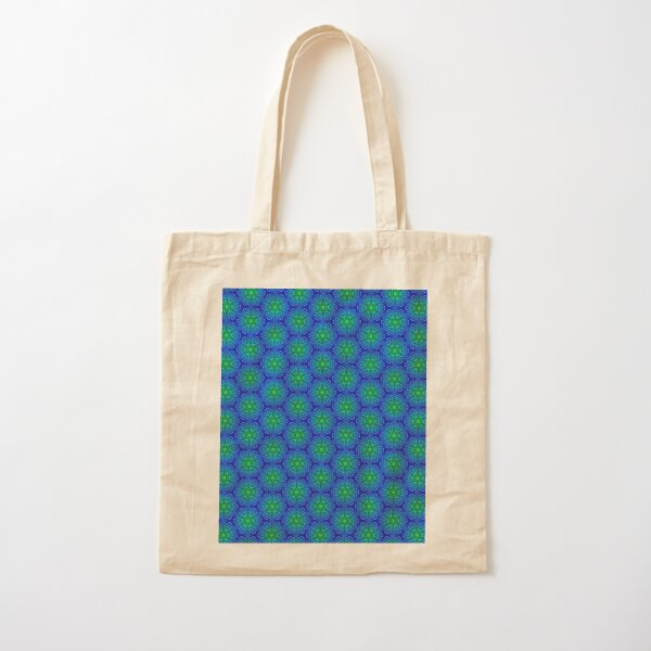 Blue and Green Mosaic Tile Star Pattern Cotton Tote Bag