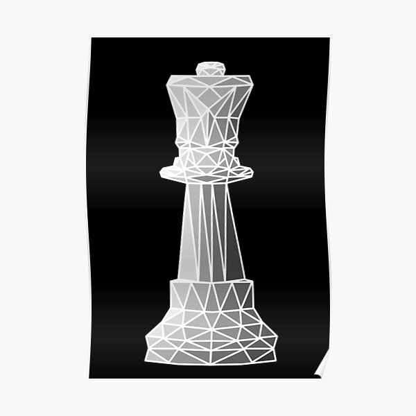 Geometric white chess queen Poster