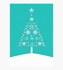 Christmas Tree Made Of Snowflakes On Jade Background Photographic Print