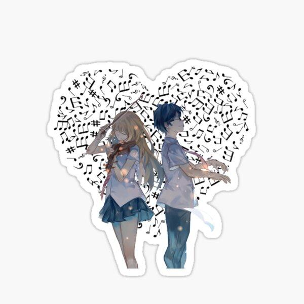 Tu mentira en abril Shigatsu Wa Kimi No Uso Arima y Kaori Pegatina