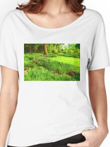 Impressions of Gardens - Lush Green and Blooming Peonies Women's Relaxed Fit T-Shirt