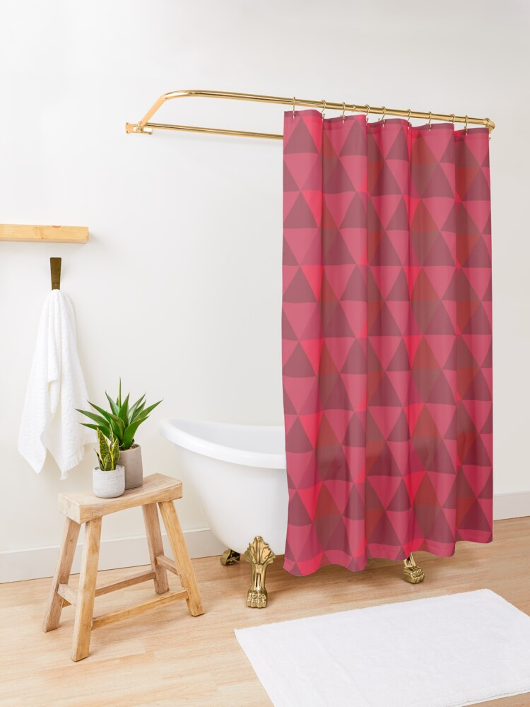Alternate view of Red Quilt Shower Curtain