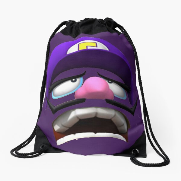 Waluigi Face Drawstring Bag