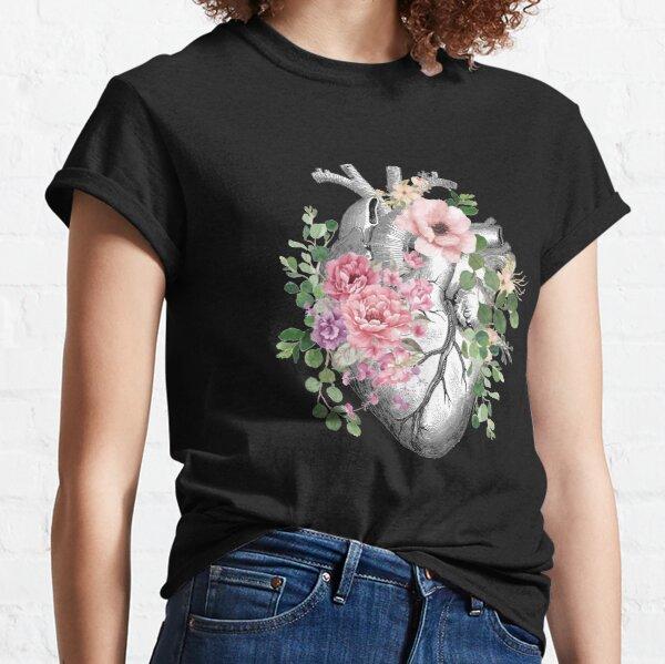 Bloom Floral Heart Human Anatomy pink roses flowers Classic T-Shirt