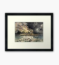 Awful conflagration of the steam boat Lexington - 1840 - Currier & Ives Framed Print