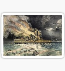 Awful conflagration of the steam boat Lexington - 1840 - Currier & Ives Sticker