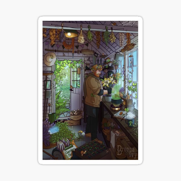 Modern Male Witch Greenhouse Sticker