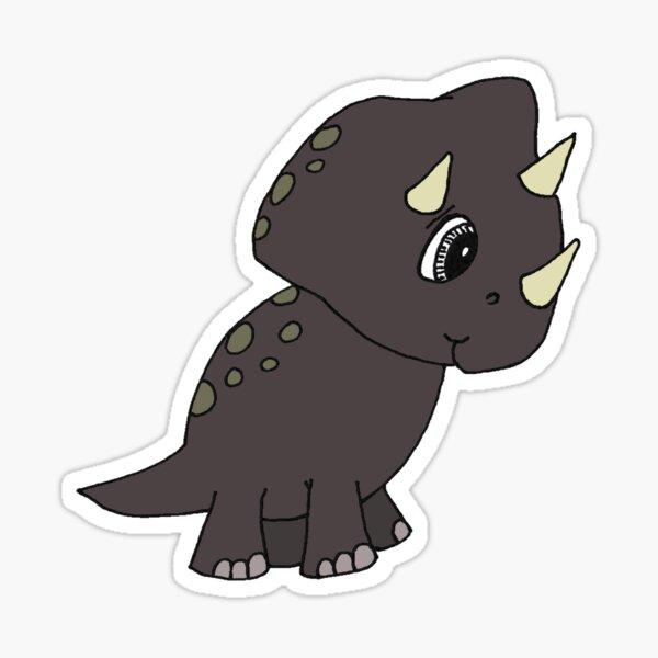 Cute Brown Baby Triceratops Dinosaur Glossy Sticker