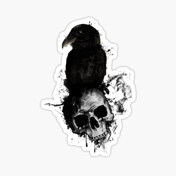 Raven and Skull Sticker