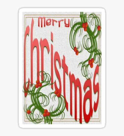 Merry Christmas With Stylized Holly Greeting Card Sticker