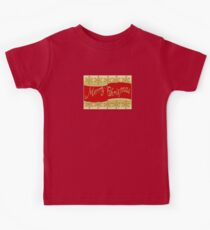 Red Merry Christmas Banner On Gold With Snowflakes Kids Tee