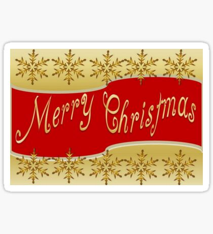 Red Merry Christmas Banner On Gold With Snowflakes Sticker