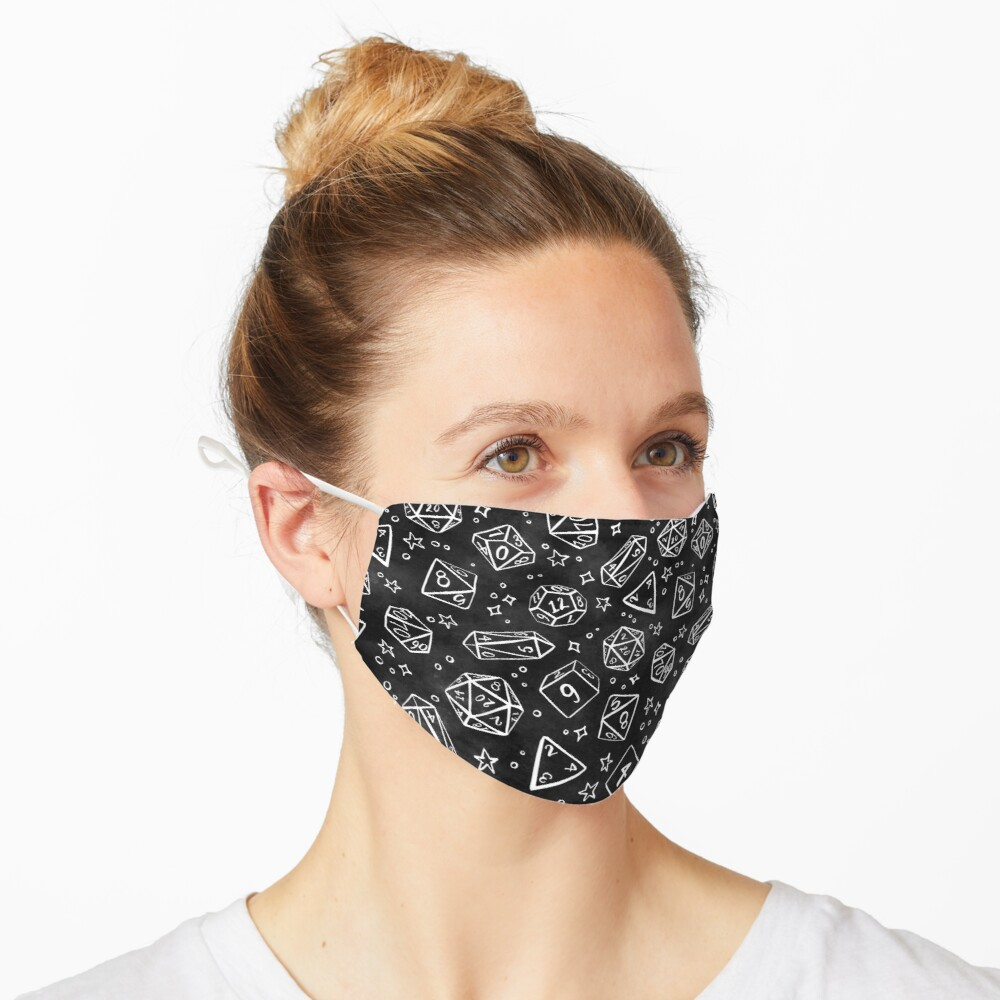 Watercolor Line Art Dice - Black Mask