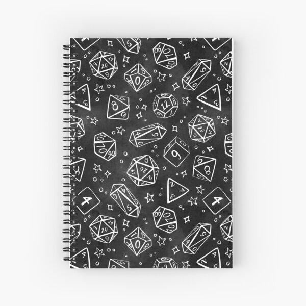 Watercolor Line Art Dice - Black Spiral Notebook