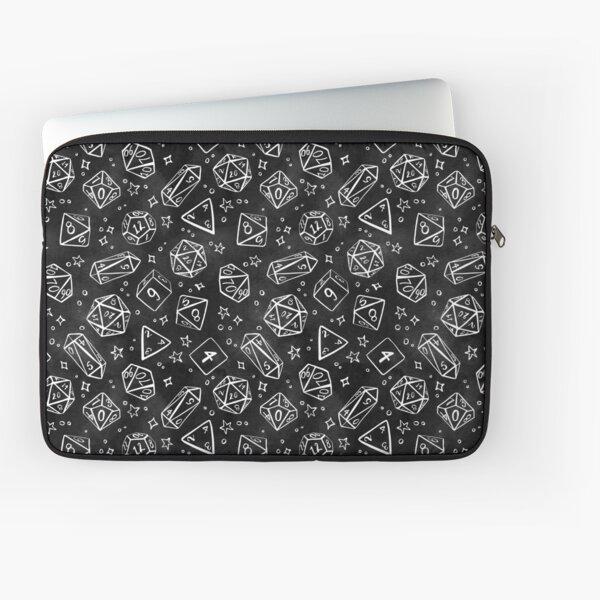 Watercolor Line Art Dice - Black Laptop Sleeve