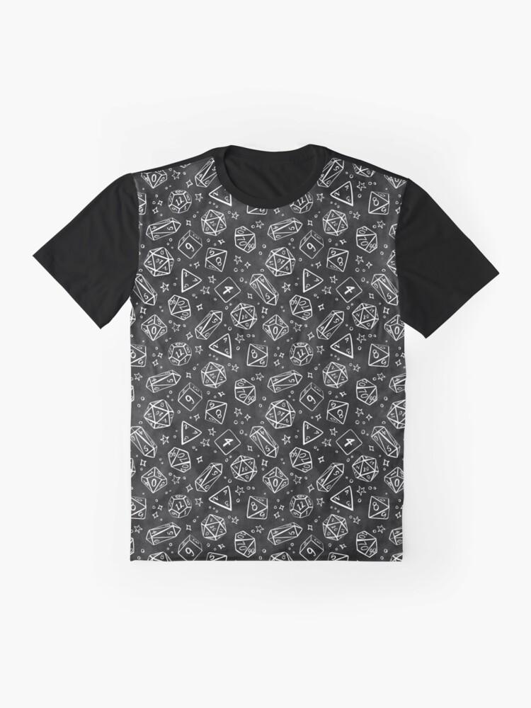 Alternate view of Watercolor Line Art Dice - Black Graphic T-Shirt