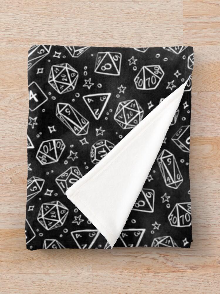 Alternate view of Watercolor Line Art Dice - Black Throw Blanket