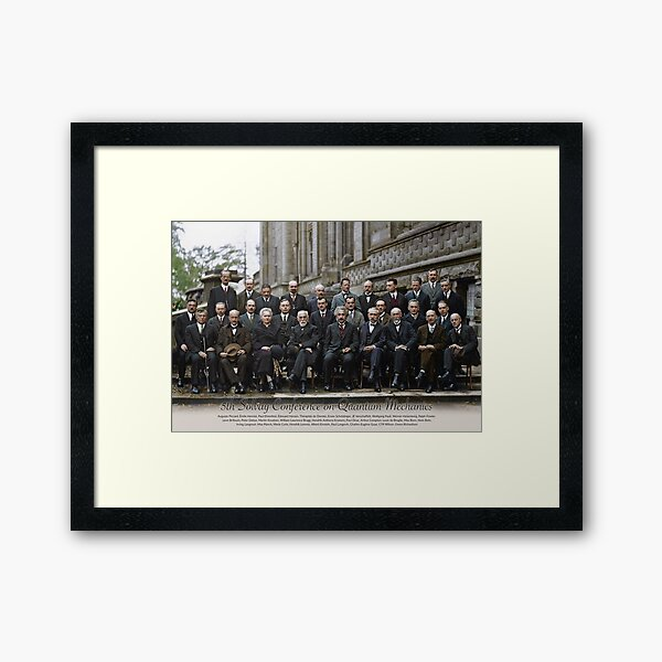 With names: 5th Solvay Conference on Quantum Mechanics, 1927.  Framed Art Print