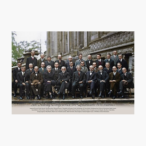 With names: 5th Solvay Conference on Quantum Mechanics, 1927.  Photographic Print