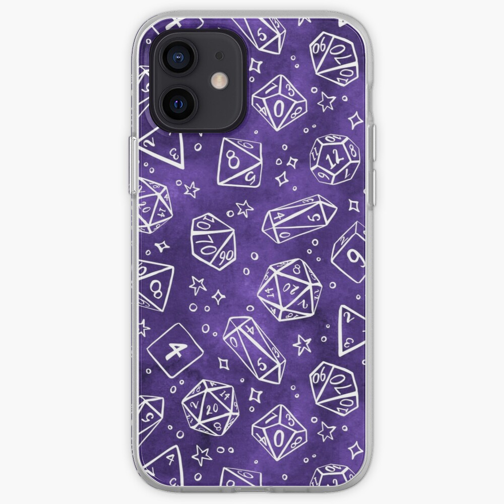 Watercolor Line Art Dice - Purple iPhone Case & Cover