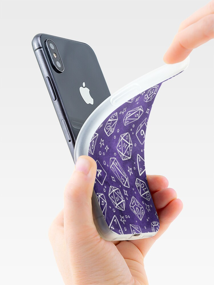 Alternate view of Watercolor Line Art Dice - Purple iPhone Case & Cover