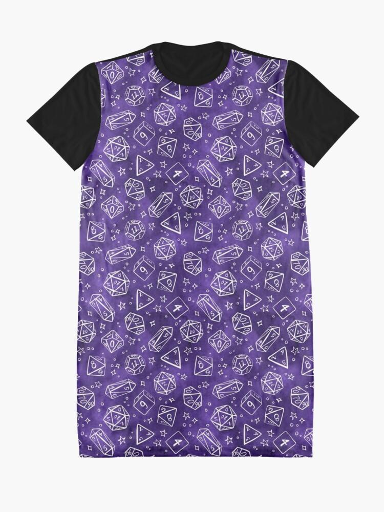 Alternate view of Watercolor Line Art Dice - Purple Graphic T-Shirt Dress