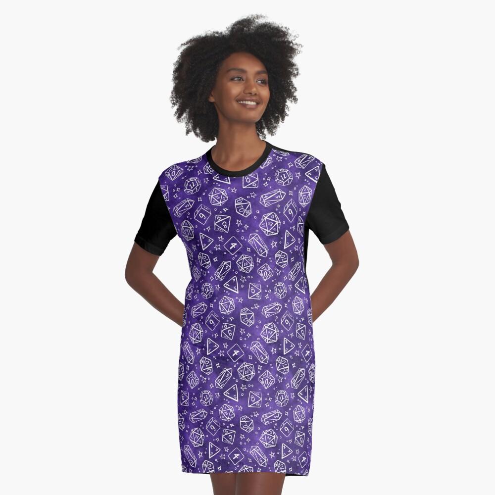 Watercolor Line Art Dice - Purple Graphic T-Shirt Dress