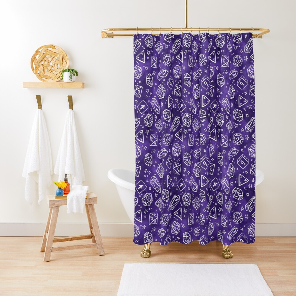 Watercolor Line Art Dice - Purple Shower Curtain