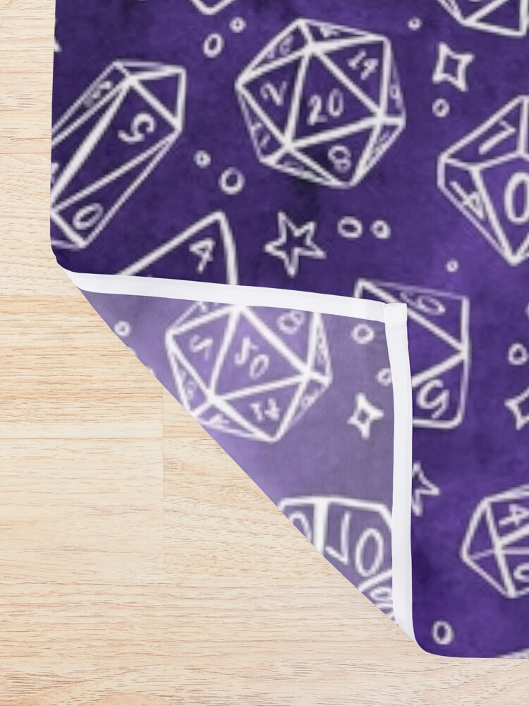 Alternate view of Watercolor Line Art Dice - Purple Shower Curtain