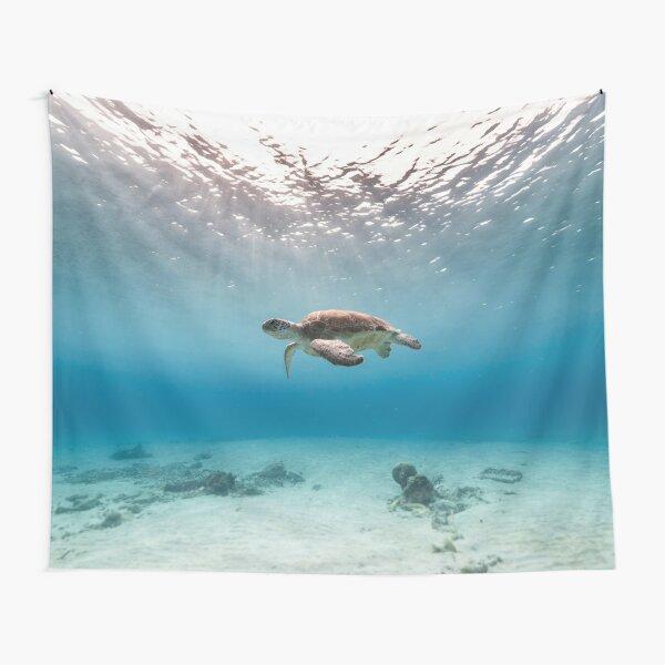 Blue ocean sea turtle - summer sea swimming  turtle Tapestry