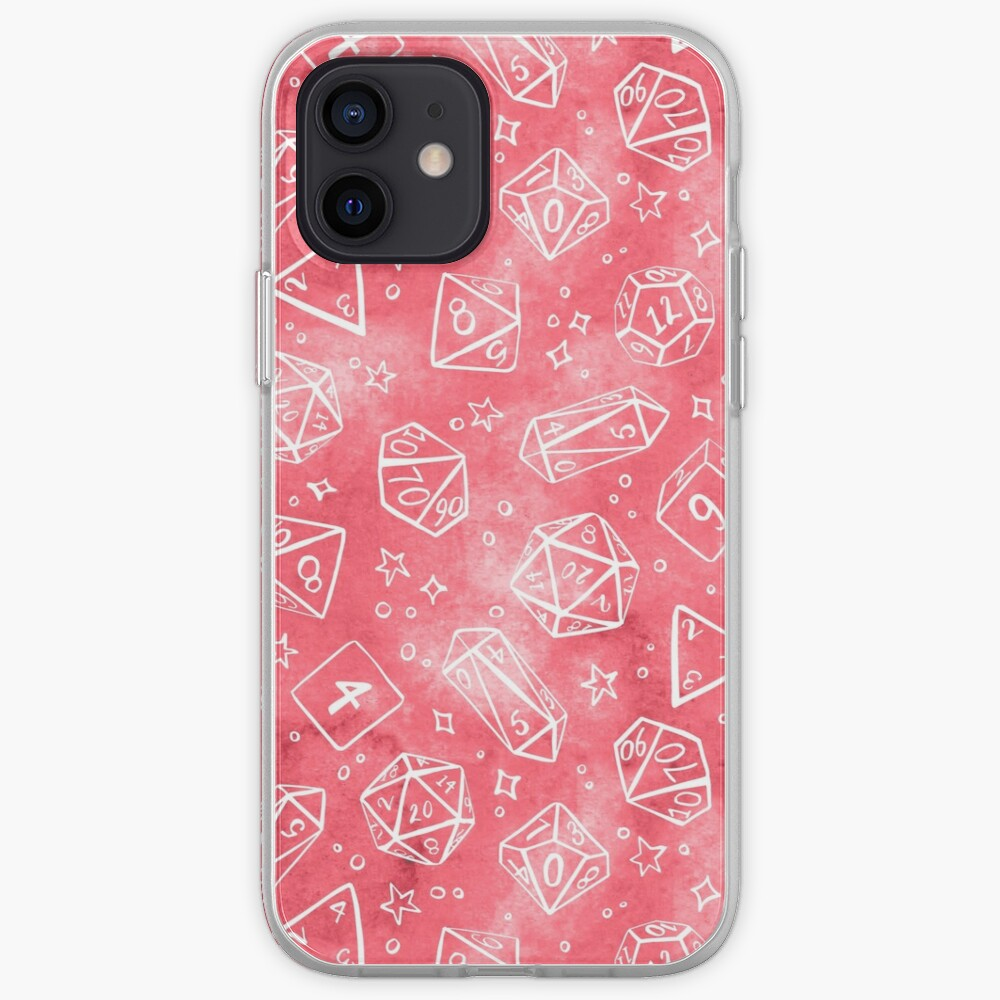 Watercolor Line Art Dice - Pink iPhone Case & Cover
