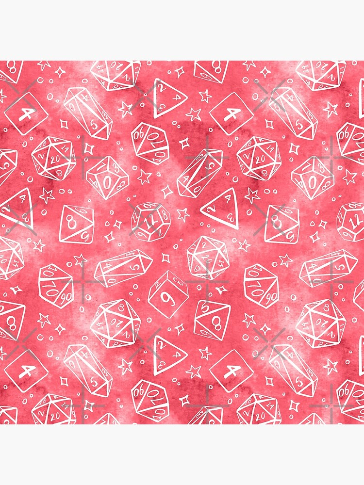 Watercolor Line Art Dice - Pink by annieparsons