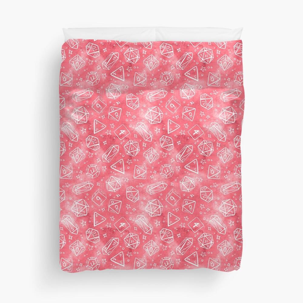 Watercolor Line Art Dice - Pink Duvet Cover
