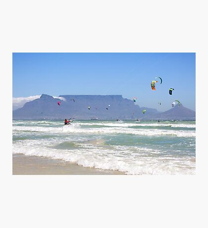 Kites Dancing Around Table Mountain - Cape Town, South Africa Photographic Print