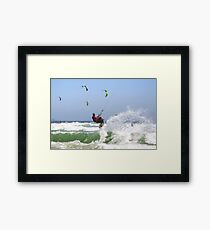 Fun with Wind & Water - Kitesurfing - Cape Town, South Africa Framed Print