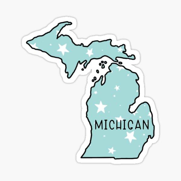 Michigan Light Teal Star  Sticker