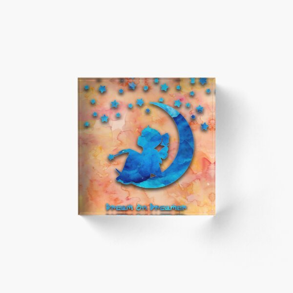 """Dream on Dreamer"" watercolor design by IngeniumArtist Acrylic Block"